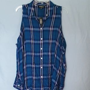 Express Women's Blue Open Shoulder Tunic SZ M